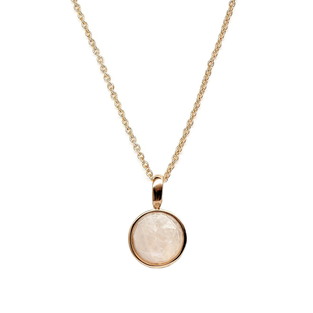 Rose Cut Moonstone Necklace in gold setting - Necklace for ...
