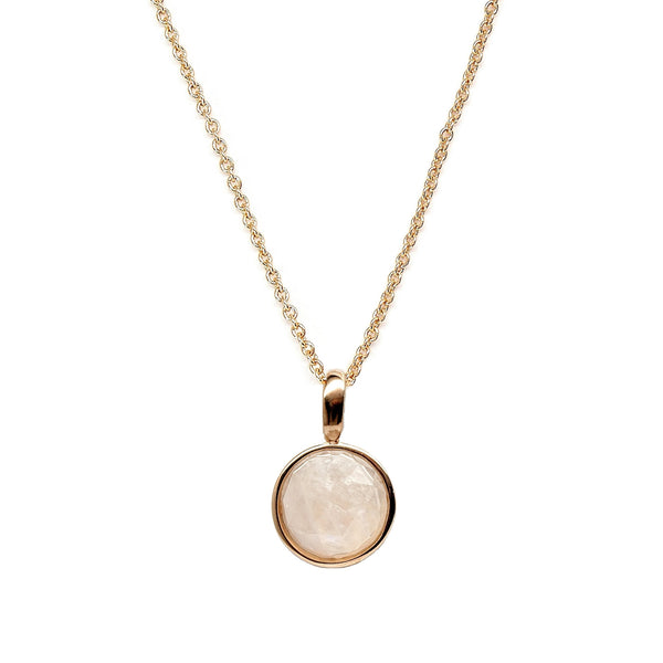 Moonstone Rose Cut Gold Necklace