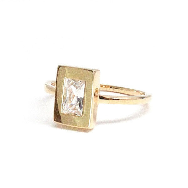 Baguette Gold Ring with White Topaz