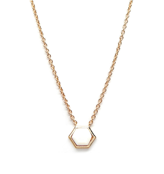 Rachael Ryen Hexagon Mother of Pearl Necklace