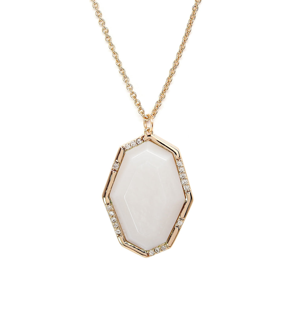 Rachael Ryen Offset Mother of Pearl Pave Pendant