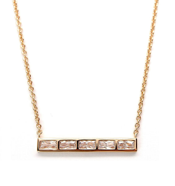 Rachael Ryen Gold Baguette bar necklace