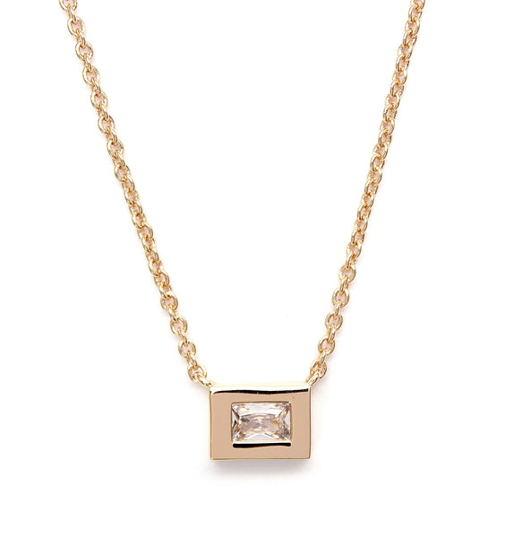 Single Baguette Necklace    Gold
