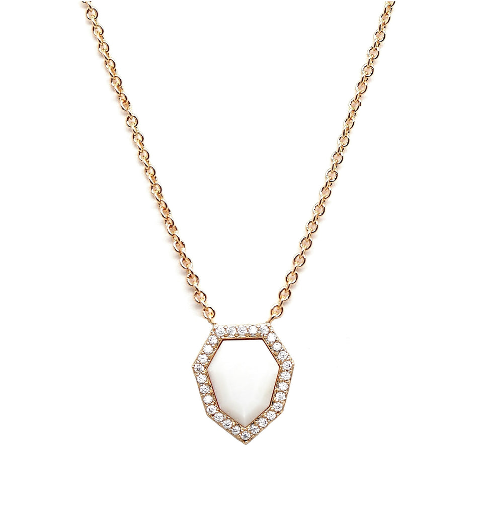 White Pave Gemstone Necklace
