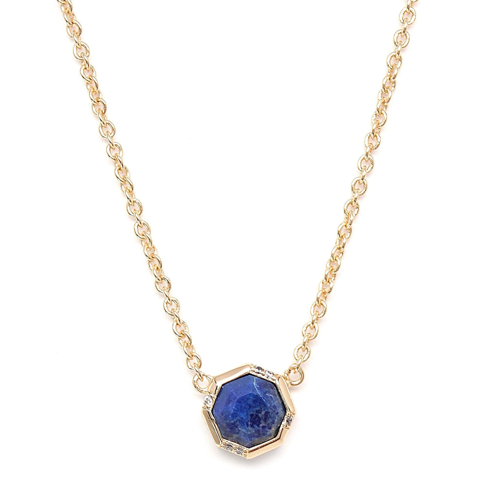 Octagon Drop Necklace  Lapis