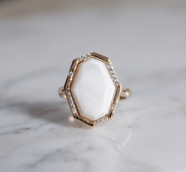 Blake Pave Cocktail Ring - Mother of Pearl