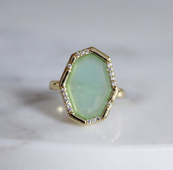 Blake Pave Cocktail Ring - Aqua Chalcedony