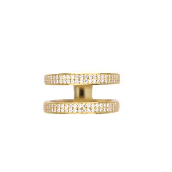 2 layered gold pave ring