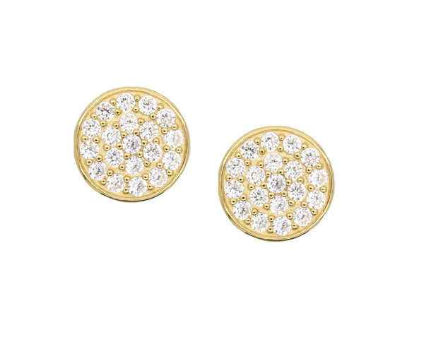 round stud earrings with white zircon