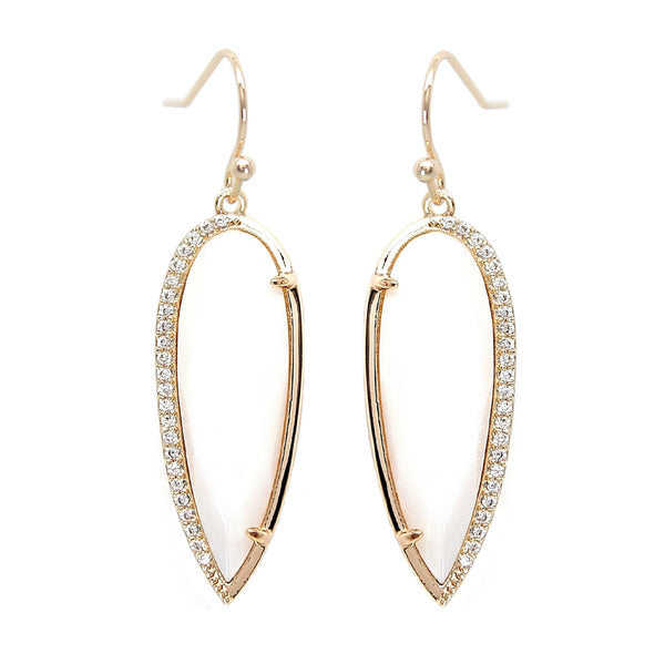 Rachael Ryen White Pearl Pave Drop Earrings
