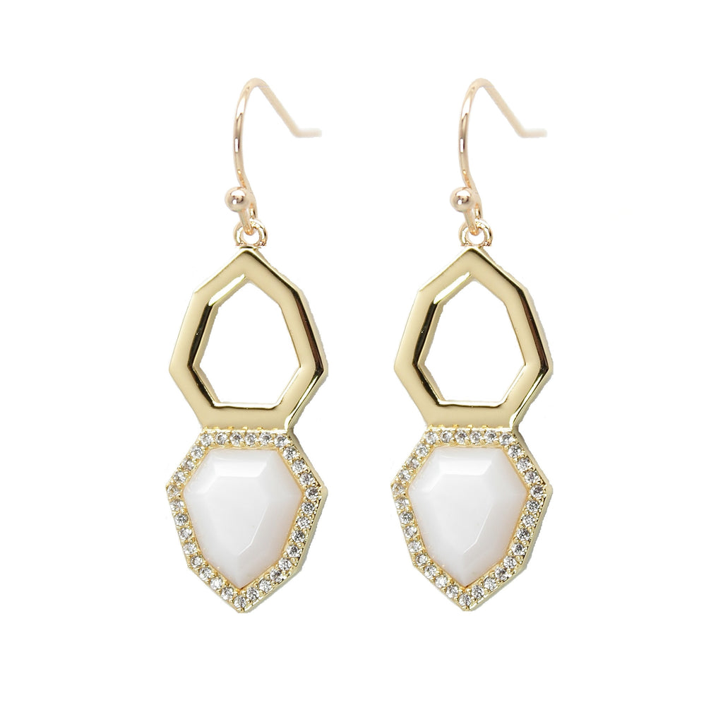 Pave Arrowhead Drop Earrings in Mother of Pearl
