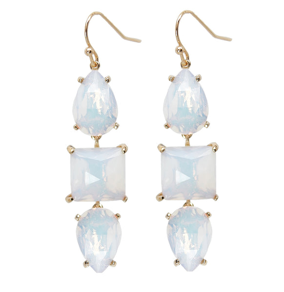 Gold Opal Gemstone Earrings - White iridescent gemstone earrings