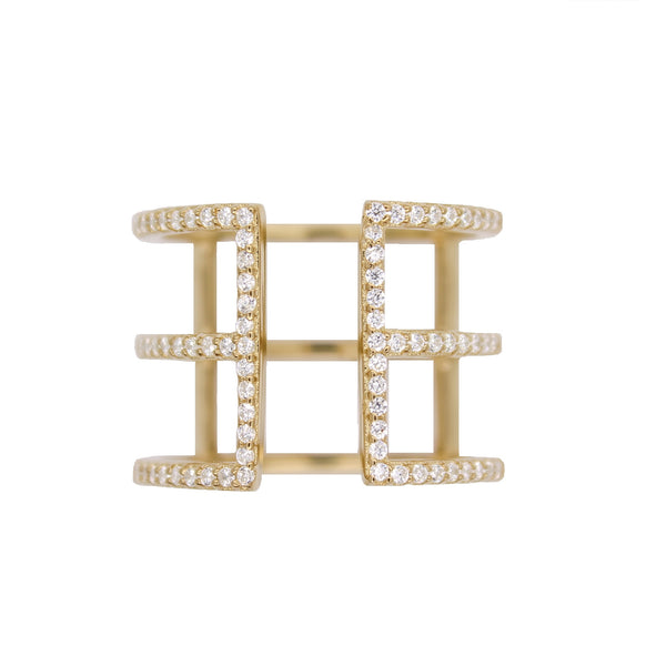 Pave Cage Ring  - Gold
