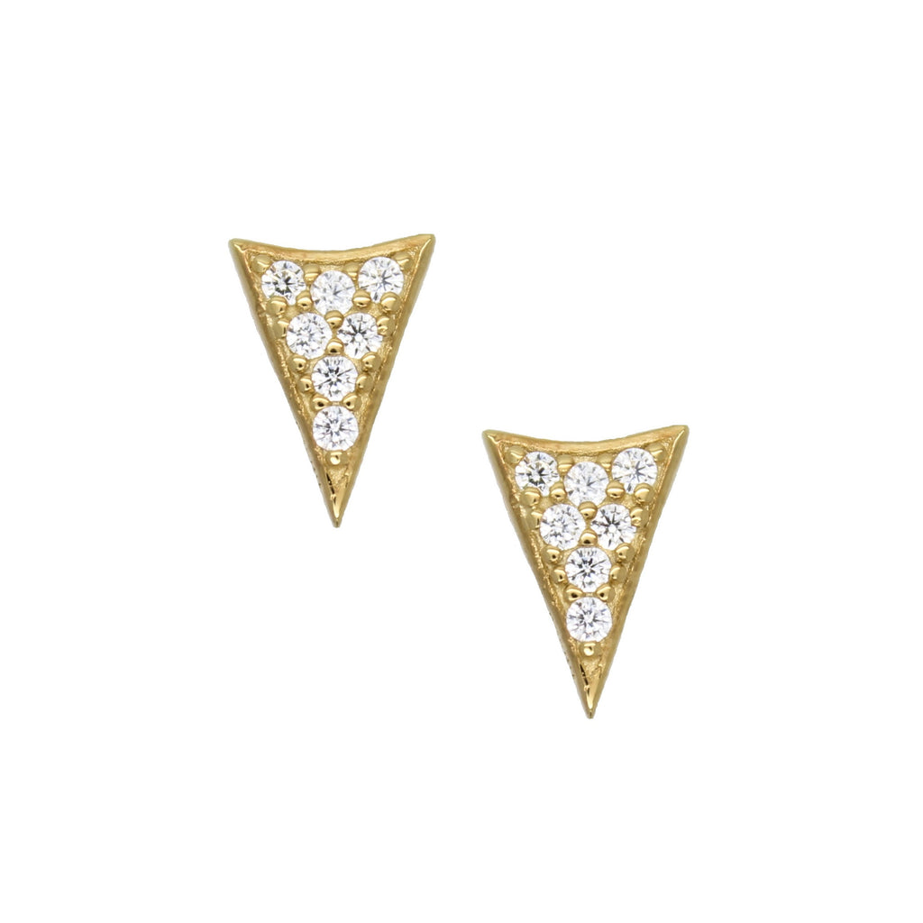 14k gold over silver spike stud earrings