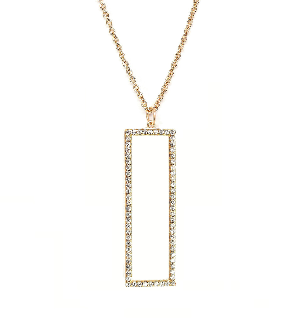 Long Rectangle Shaped Pendant with CZ stones