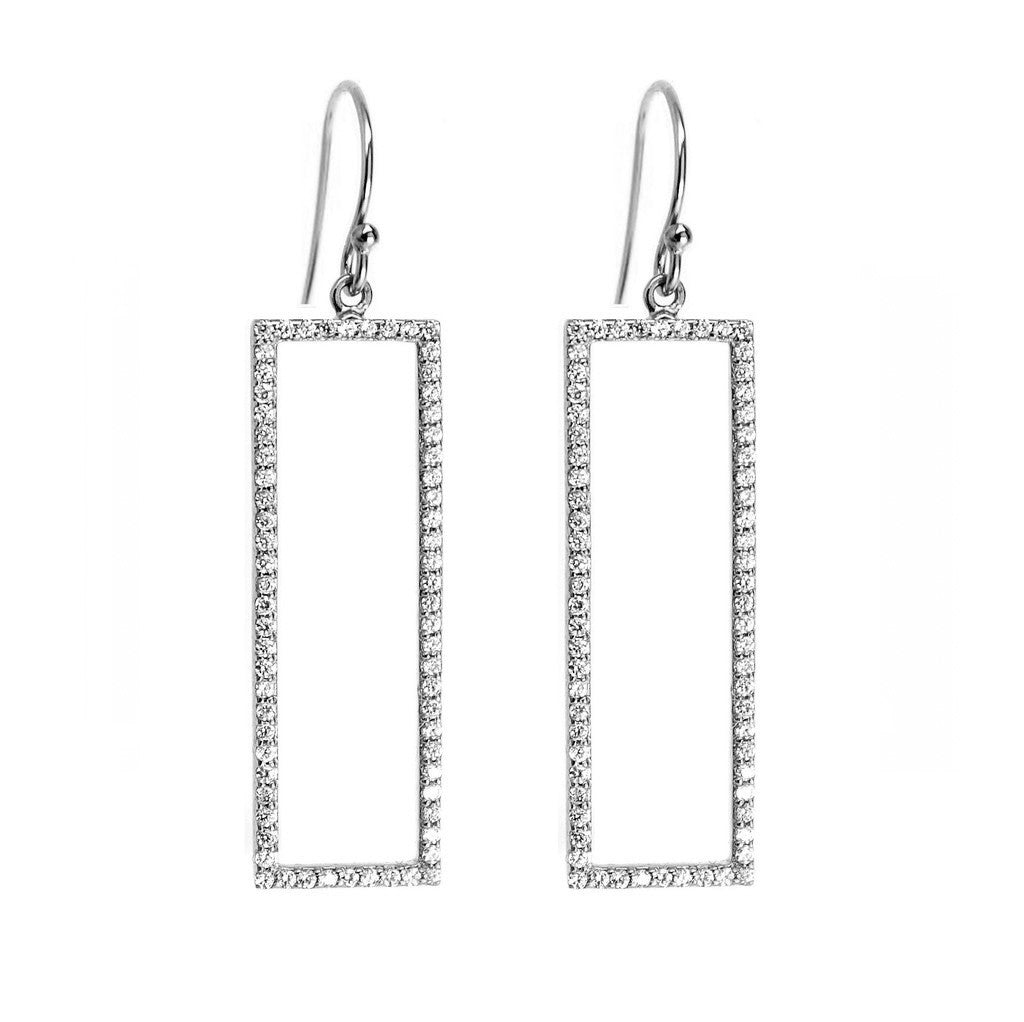Rectangle Pave Drop Earrings in Silver For women