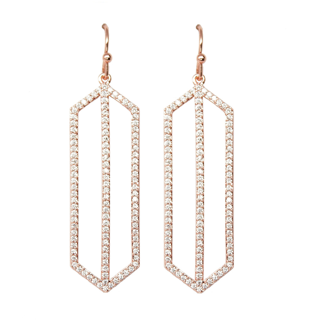 Rose Gold Pave Art Deco Drop Earrings