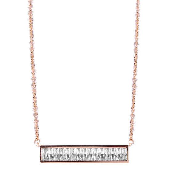 Baguette Horizontal Bar Necklace Rose Gold