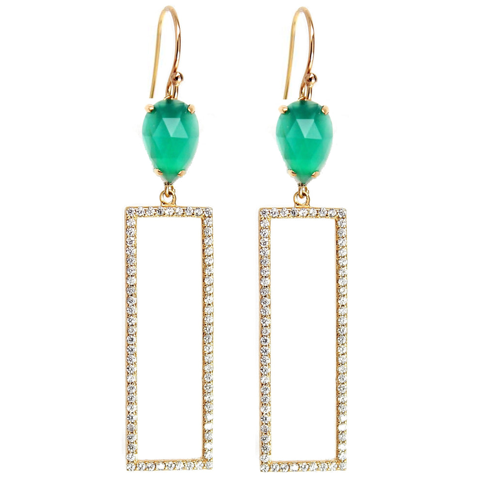 Rectangle Pave Drop Earrings - Green Onyx