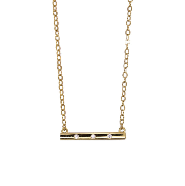 Mini 3 stone bar necklace - gold bar necklace with stones