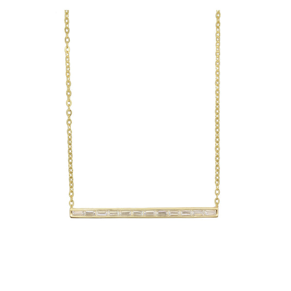 Thin baguette bar necklace