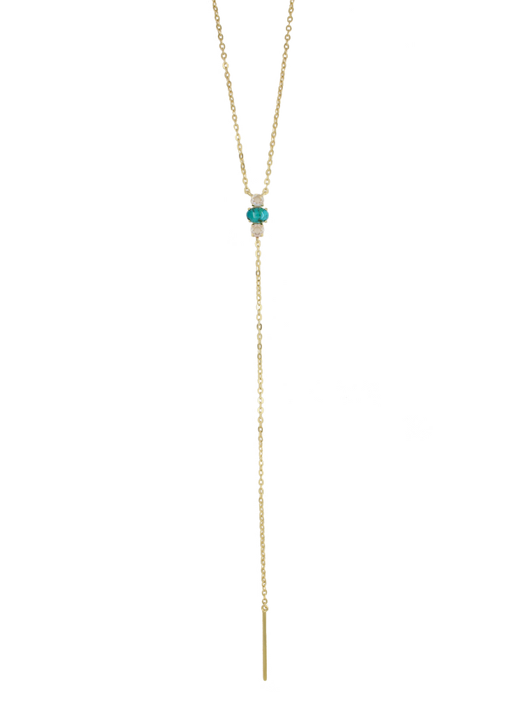 Turquoise Gold Long Lariat Necklace