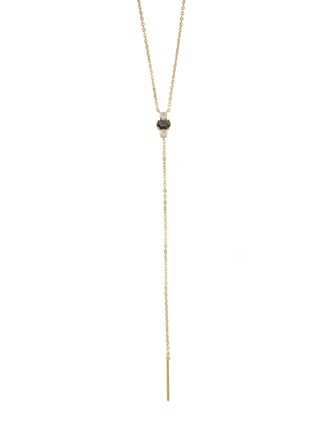 Labradorite Lariat Necklace - Long Gemstone Lariat