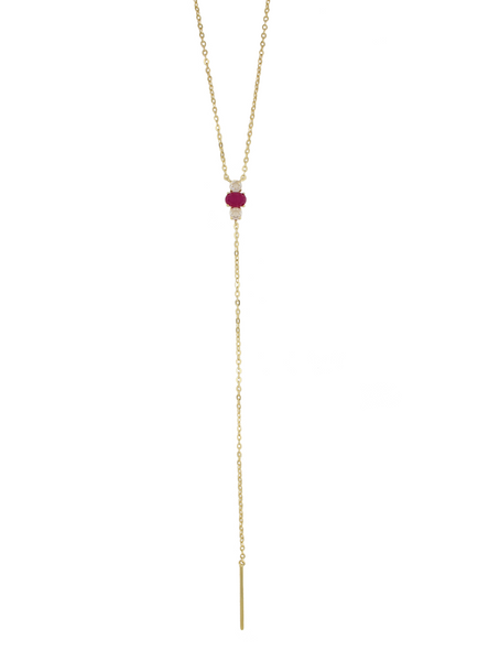Jade Lariat Necklace - Long Gemstone Lariat