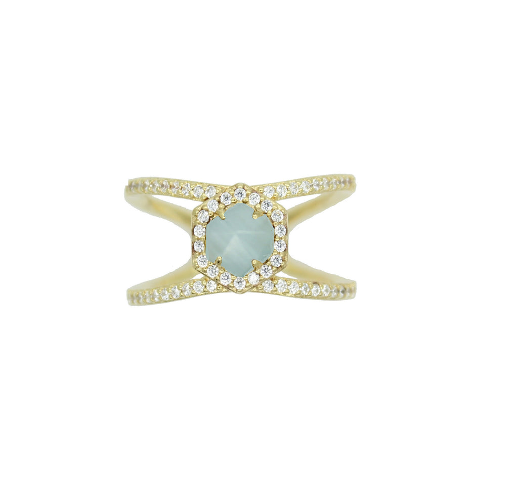 Aqua hexagon pave ring under $100