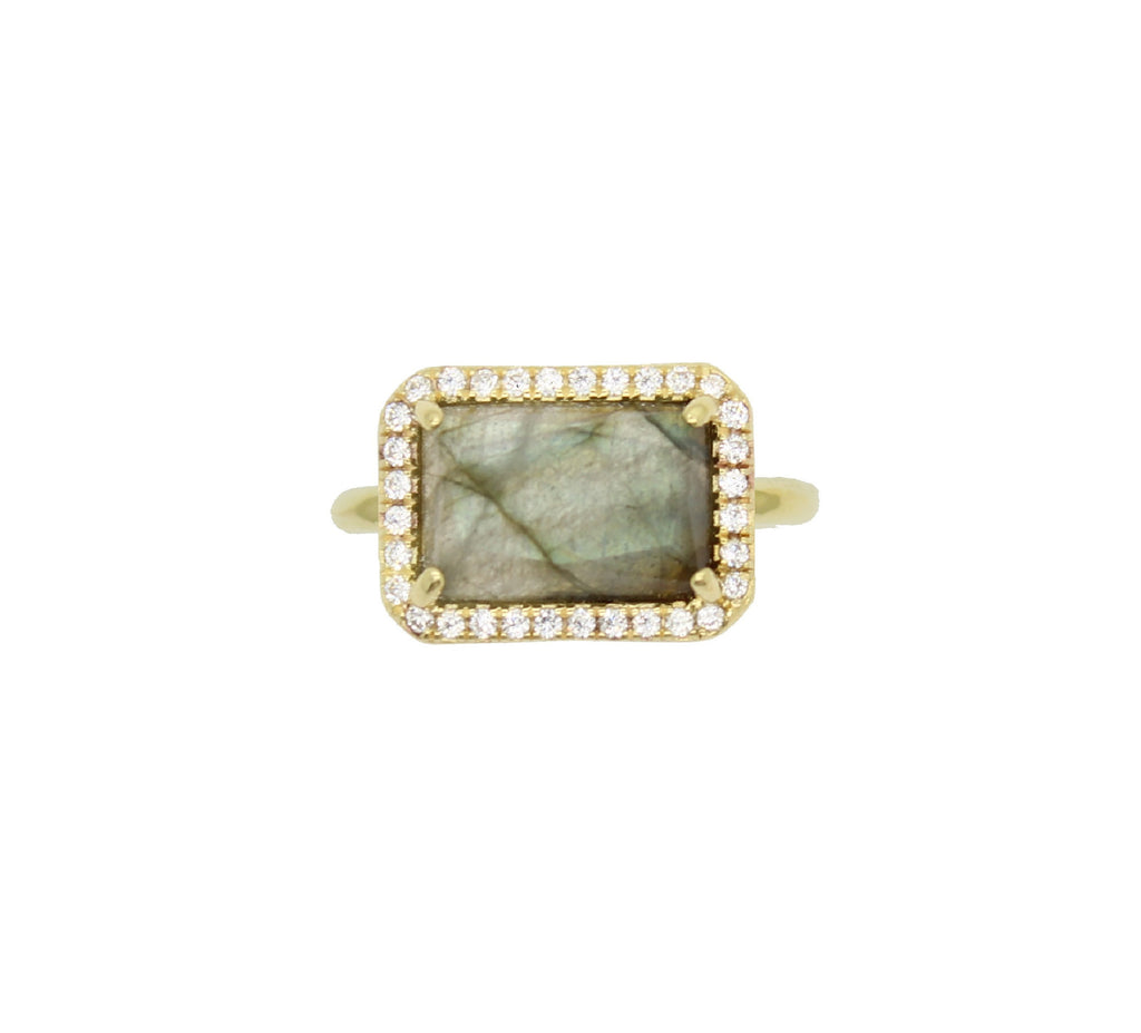 Moonstone baguette pave ring
