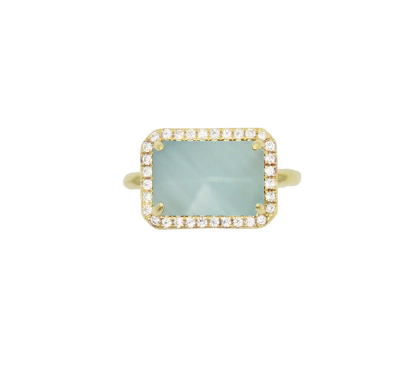 Aqua blue chalcedony baguette pave cocktail ring