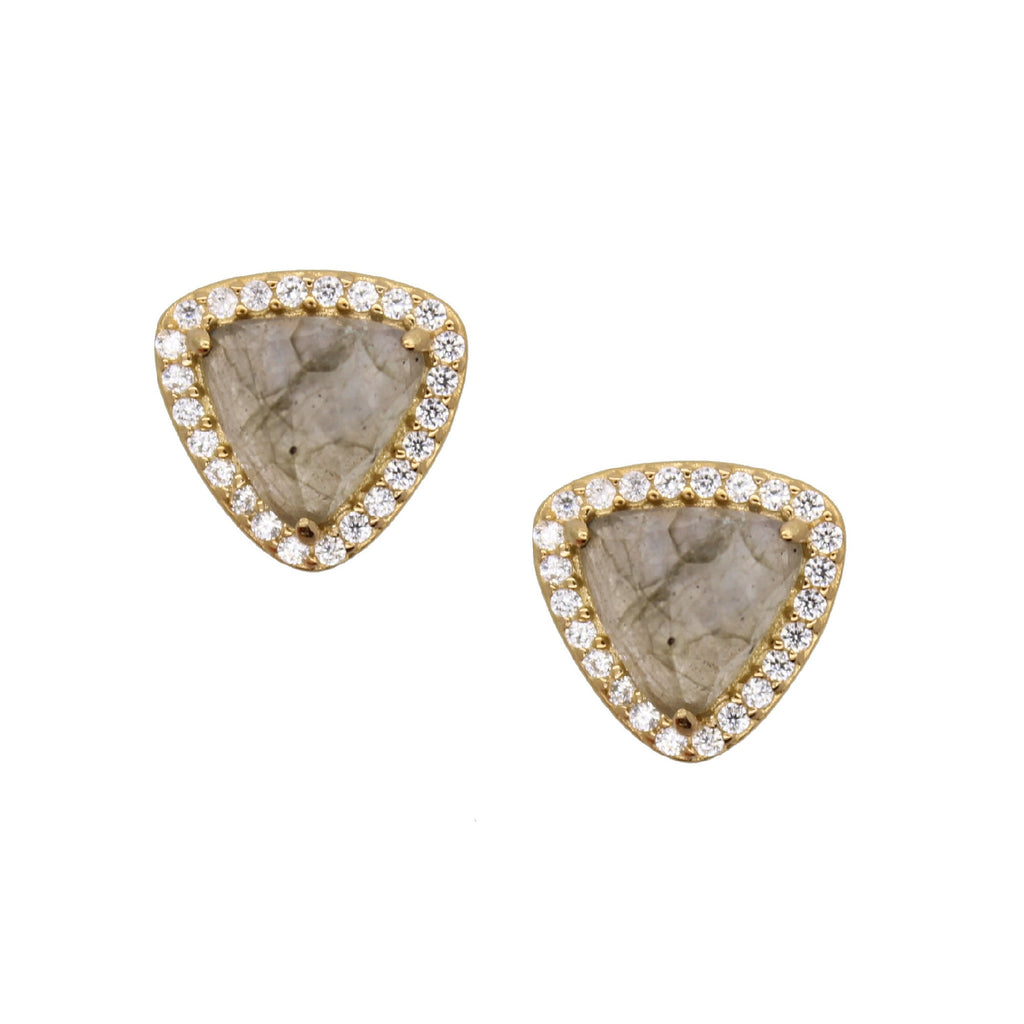 Trillion Stud Earrings Labradorite - triangle shaped studs with cubic zirconias