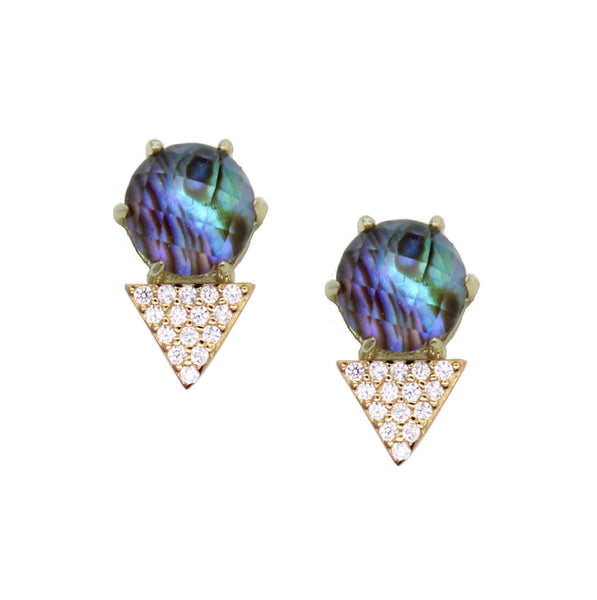 Triangle shaped earrings with prong set abalone doublet gemstone