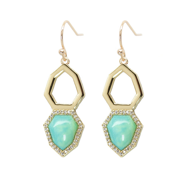 Turquoise Pave Drop Earrings