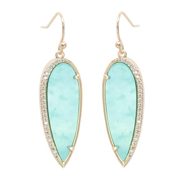 Rachael Ryen Turquoise Pave Drop Earrings