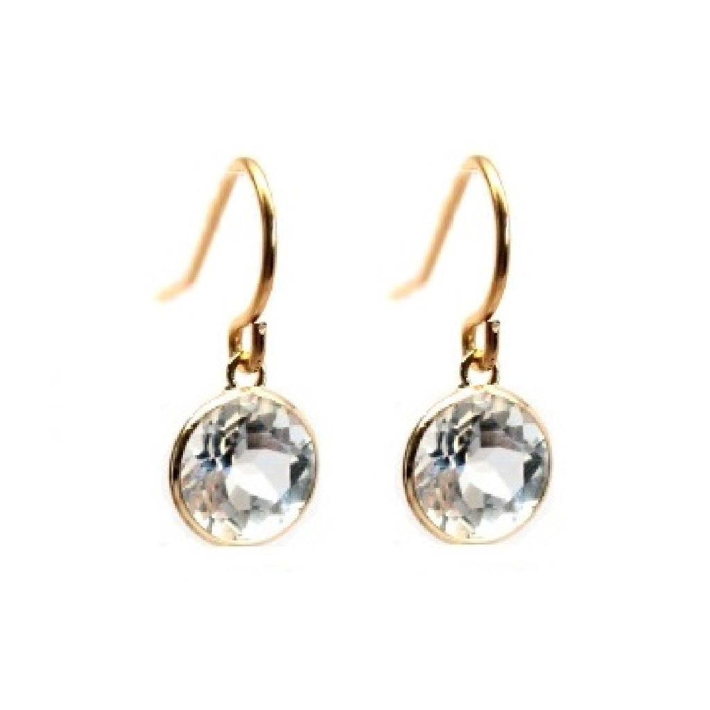 White topaz 14k gold drop earrings