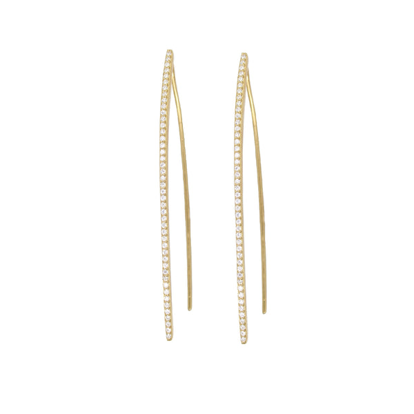 Long gold stick earrings with pave detail - Long gold earrings for women - Earrings under $75