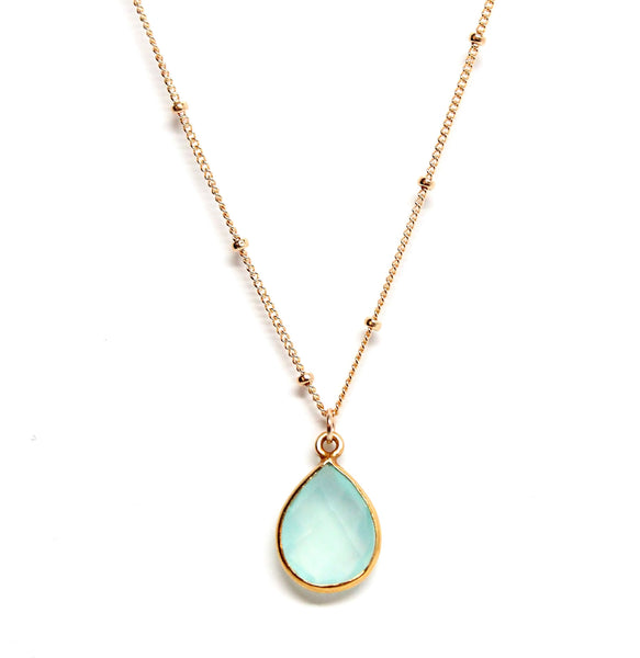 Seafoam blue teardrop gemstone necklace for women