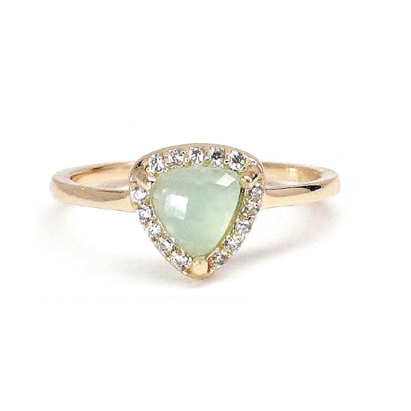 Seafoam Blue Triangle Pave Ring