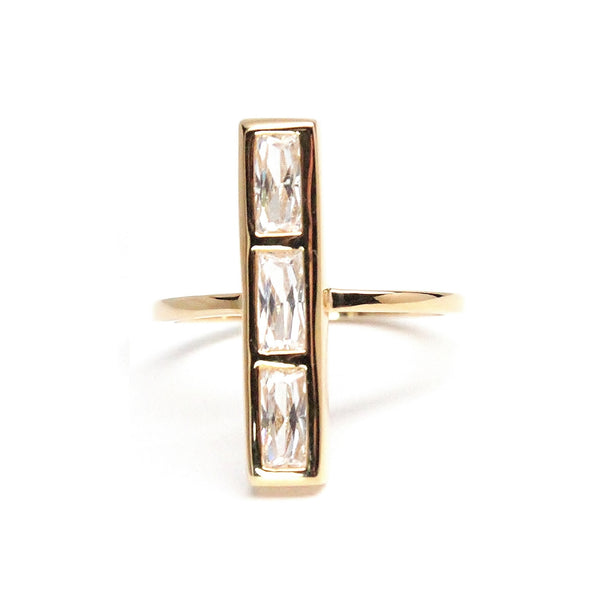 Baguette bar ring - gold bar ring
