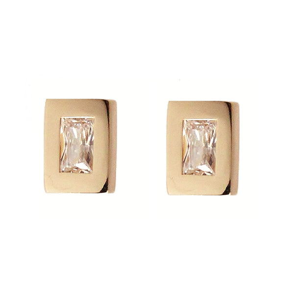 Rachael Ryen Gold Baguette Stud Earrings