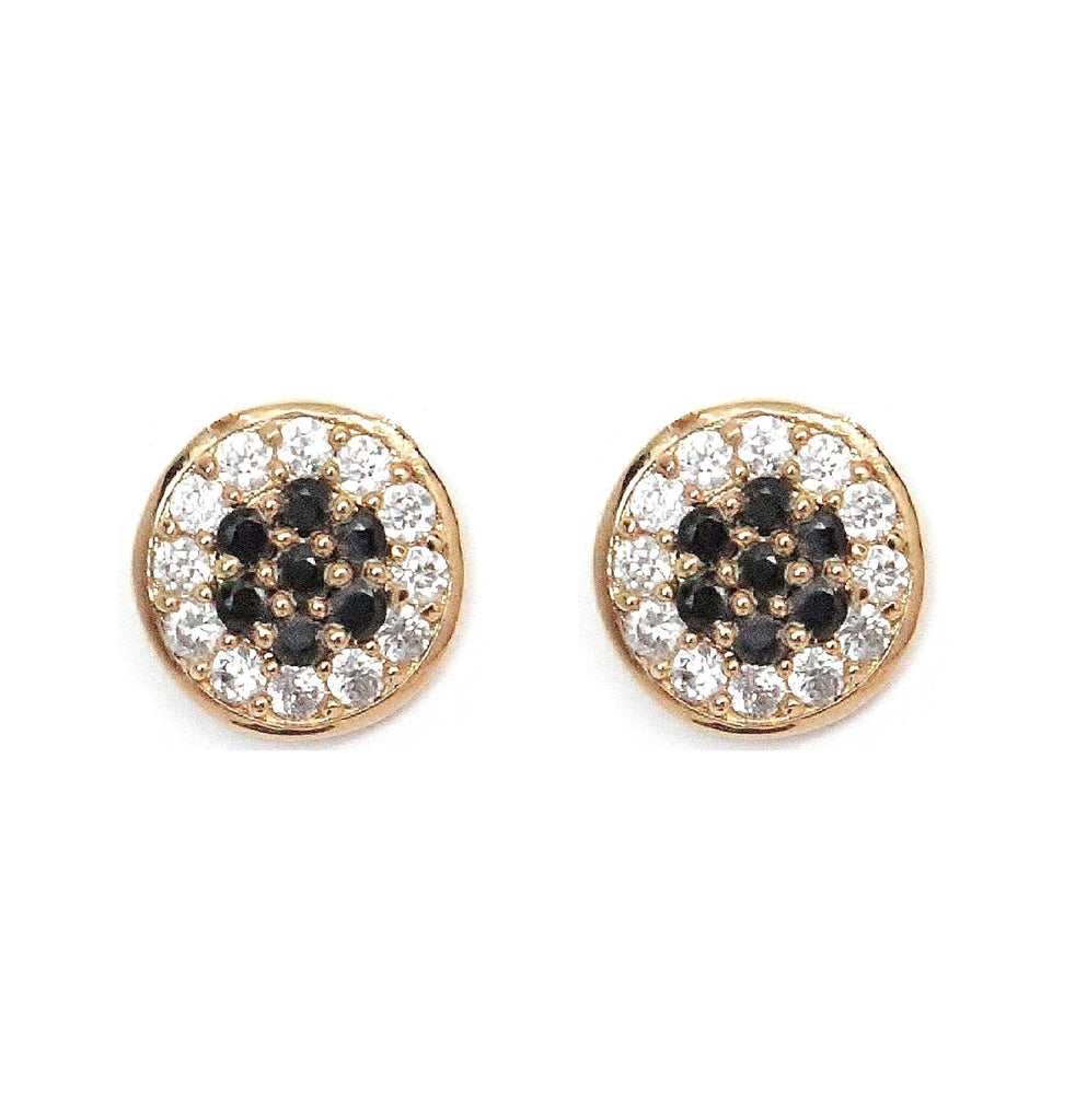 Gold pave disc round stud earrings with black and white stones