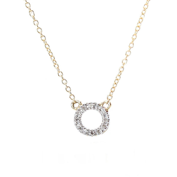small diamond circle necklace in yellow gold