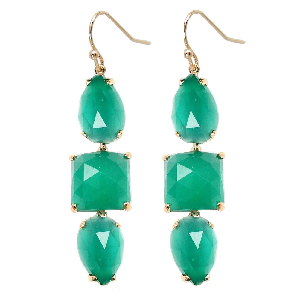 Rachael Ryen Green Onyx Drop Earrings
