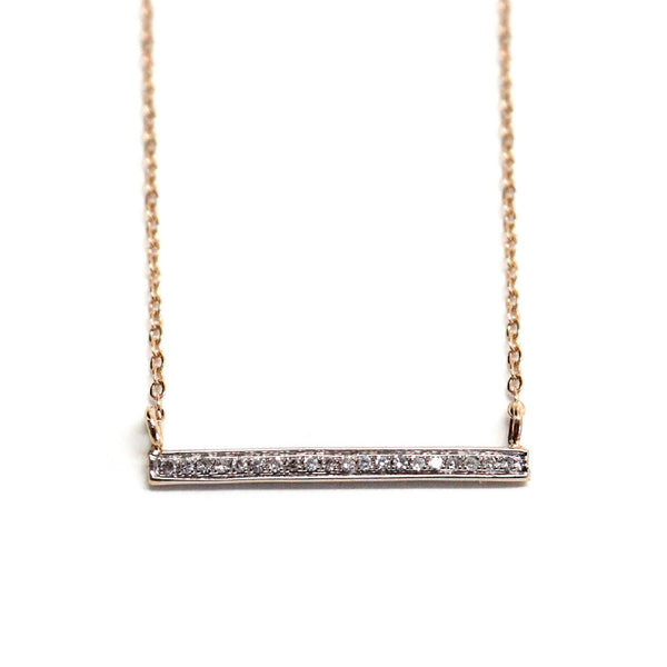 Diamond gold bar necklace - Balance bar necklace