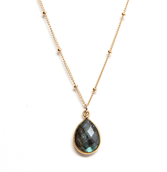 Labradorite drop necklace on gold chain