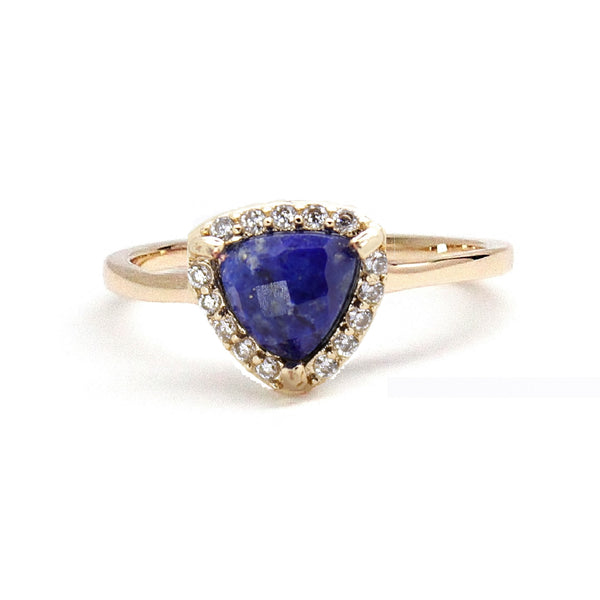 Lapis Triangle Pave Ring