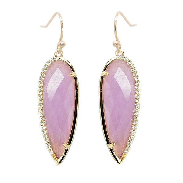 Orchid Purple Pave Drop Earrings