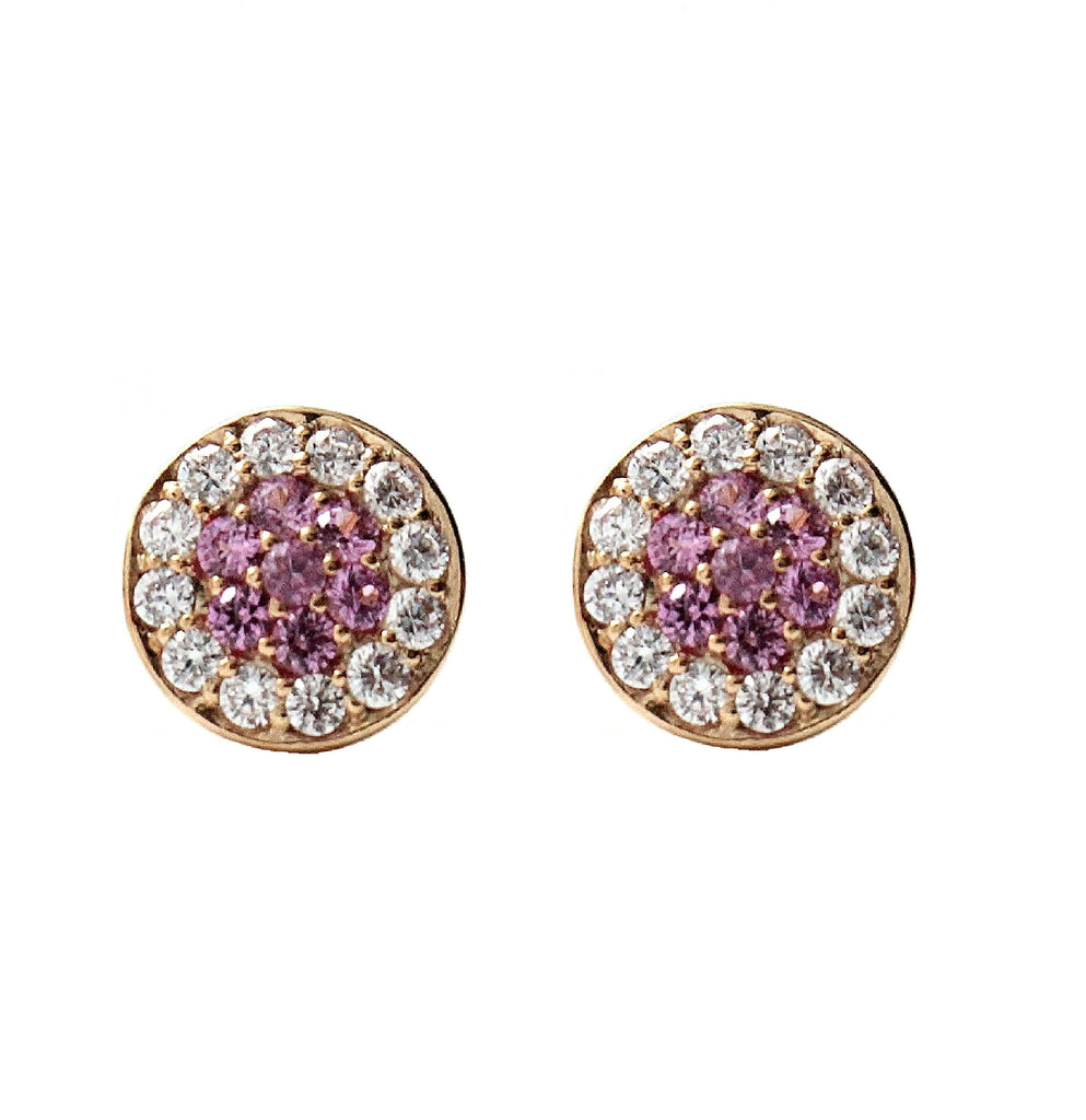 Pink Sapphire Pave Disc Stud Earrings