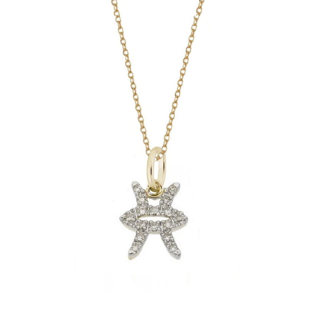 Pisces Diamond Zodiac Charm Necklace
